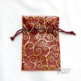 鳳尾燙金紗袋 棗紅色