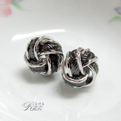 個性流線設計耳環(耳針)-黑金/正白k雙色電鍍 僅此一件