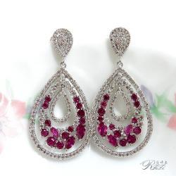 婚紗宴會系列-紅剛耳環(耳針) 僅此一件