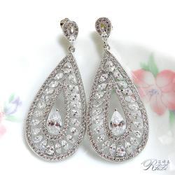婚紗華麗白鑽耳環(耳針) 僅此一件