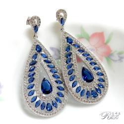 婚紗華麗藍/白耳環(耳針)