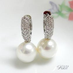 天然貝殼珍珠耳環(耳扣針式)