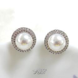 天然貝殼珍珠環鑽耳環(耳針)