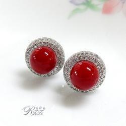 珊瑚紅貝殼珍珠環鑽耳環(耳針) 僅此一件