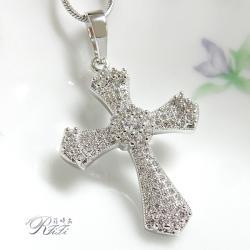 微鑲鑽十字架墬鍊-光芒