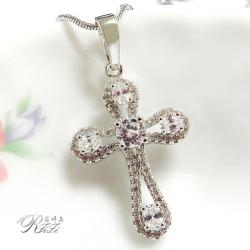 微鑲鑽十字架墬鍊-麗鑽