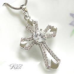 微鑲鑽十字架墬鍊-幸運