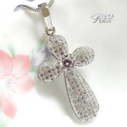 微鑲鑽十字架墬鍊-摯愛