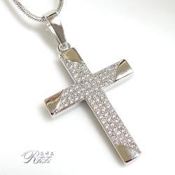 微鑲鑽十字架墬鍊-堅定之心