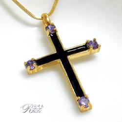 20k金色紫鑽十字架墬鍊 僅此一件