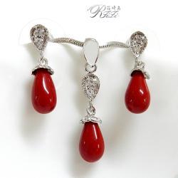 典雅紅珊瑚色首飾套組墜子配耳環 僅此一套