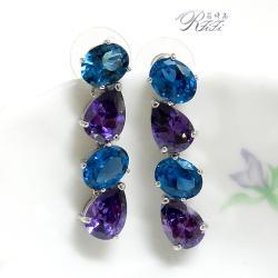時尚藍紫色耳環(耳針)