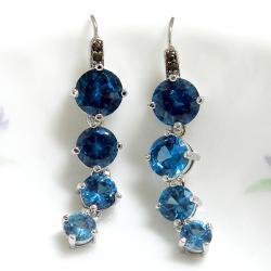 尖晶水藍垂鑽耳環(耳勾式) 僅此一件