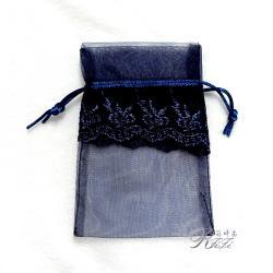 質柔花邊紗袋 寶藍