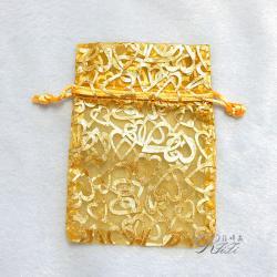 桃心燙金紗袋 金黃色