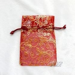 金葉燙金紗袋 大紅色