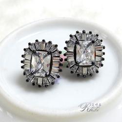 T型鑲鑽耳環(耳針)
