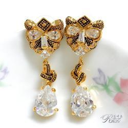復古黃金豹造型耳環(耳針) 僅此一件