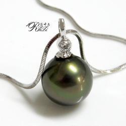 墨綠色天然貝殼珍珠墬鍊-經典商品 僅此一件