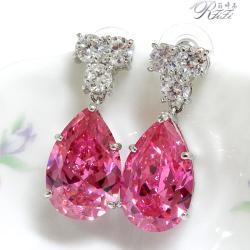 大粉紅鑽宴會系列耳環(耳針) 僅此一件