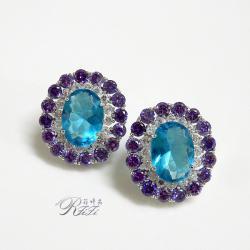 時尚藍紫鑽設計耳環(耳針) 僅此一件