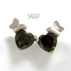 桃心黑橄欖耳環(耳針)-蝴蝶飛 僅此一件