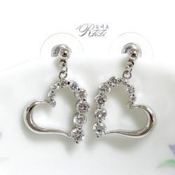 心型鑲鑽耳環(耳針)