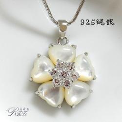 925純銀天然白貝殼墬鍊-花朵 僅此一件