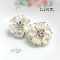 925純銀天然白貝殼耳環-花朵(耳針) 僅此一件