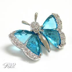 水藍夢幻舞蝶別針 僅此一件