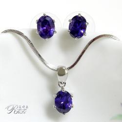 經典紫鑽套組-橢圓型 墜子配耳環 僅此一套