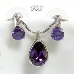 經典紫鑽套組- 水滴型墜子配圓型耳環 僅此一套