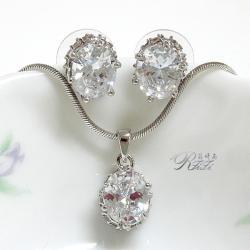 經典鑲鑽套組-橢圓型 墜子配耳環