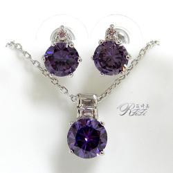 經典紫鑽墜子配耳環 僅此一套