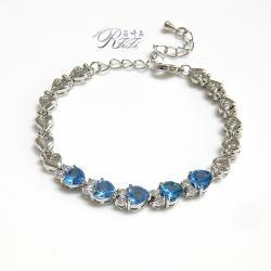 尖晶水藍鑽桃心型手鍊 - 僅此一件