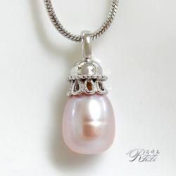 天然淡水珠(粉紫)墬鍊 僅此一件