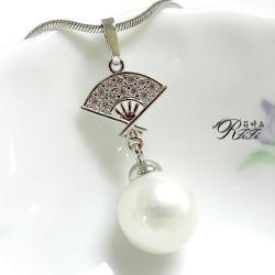 天然貝殼珍珠墬鍊-中國扇