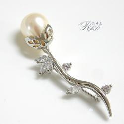 含苞花朵造型珍珠系列設計款別針