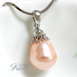 天然貝殼梨型珍珠墬鍊