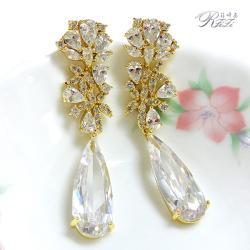 婚紗宴會系列-長水滴造型耳環(耳針)