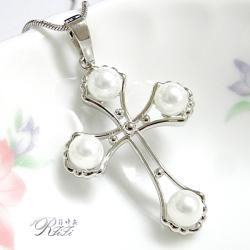 天然貝殼珍珠十字架墬鍊-真愛