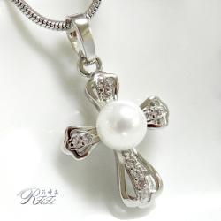 天然貝殼珍珠十字架墬鍊-珍愛