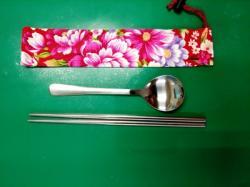 環保餐具組(一般材質)--客家花布袋