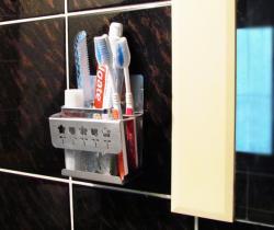 新世代*SA-6T免鑽孔貼掛不鏽鋼牙刷架