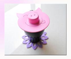 微笑小豬矽膠真空杯蓋