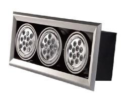 LED AR111三燈方型崁燈殼(光源另計)