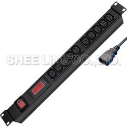 三腳扁型10插延長線(附電壓、電流顯示器)